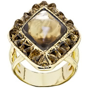 Bijoux House of Harlow 1960 - Bague Sea Stones, dorure or 14 carats, résine, T56