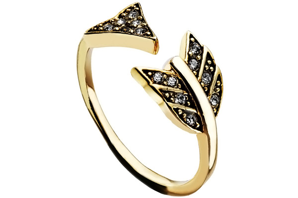 Bague Arrow Affair, dorure or 14 carats, brillants, T56 House of Harlow 1960