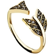 Bijoux House of Harlow 1960 - Bague Arrow Affair, dorure or 14 carats, brillants, T56