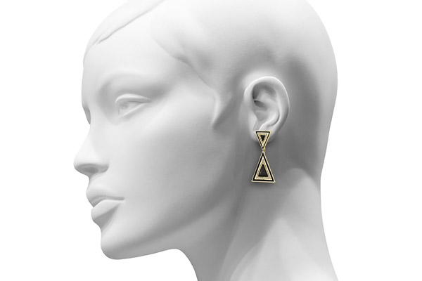 Boucles d'oreilles percées Teepee, dorure or 14 carats, brillants, noires House of Harlow 1960, packaging