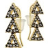 House of Harlow 1960, Boucles d'oreilles percées Tessellation, dorure or 14 carats, brillants