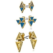 Bijoux House of Harlow 1960 - Boucles d'oreilles puces Tessellation, dorure or 14 carats, turquoise