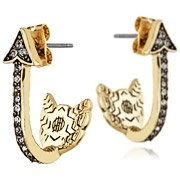 Bijoux House of Harlow 1960 - Boucles d'oreilles percées Arrow Affair, dorure or 14 carats, brillants