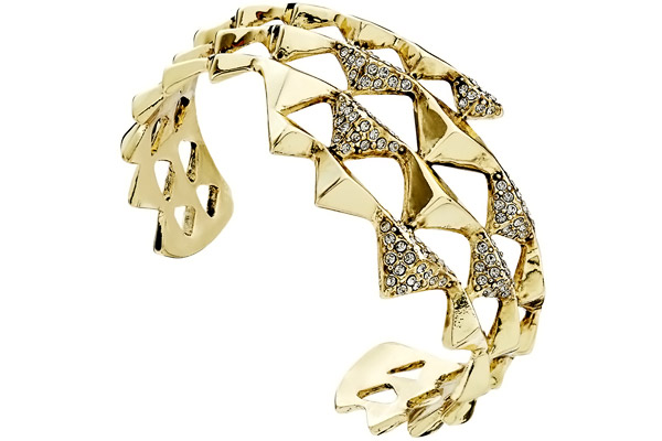 Bracelet manchette Pyramid Wrap, dorure or 14 carats, brillant, Ø60mm House of Harlow 1960