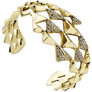 Bijoux House of Harlow 1960 - Bracelet manchette Pyramid Wrap, dorure or 14 carats, brillant, Ø60mm