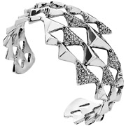 Bijoux House of Harlow 1960 - Bracelet manchette Pyramid Wrap, métallisation en argent, brillant, Ø60mm