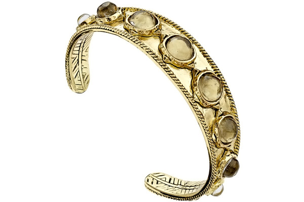 Bracelet manchette Sea Stones, dorure or 14 carats, résine, Ø60mm House of Harlow 1960