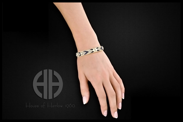 Bracelet Braided Pave, dorure or 14 carats, brillants, Ø65mm House of Harlow 1960, packaging