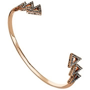 Bijoux House of Harlow 1960 - Bracelet manchette Tessellation, dorure or rose, brillants, Ø55mm