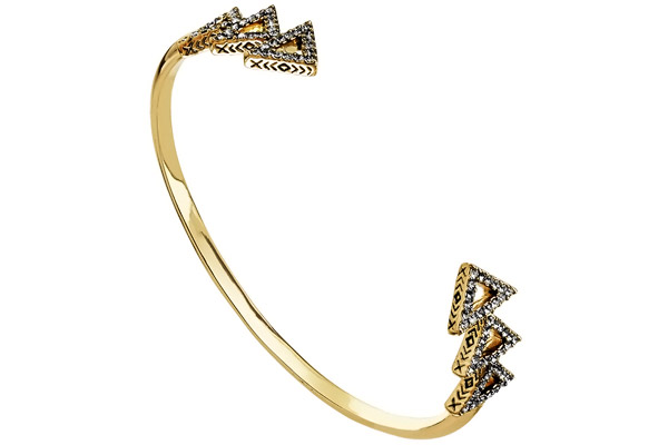 Bracelet manchette Tessellation, dorure or 14 carats, brillants, Ø55mm House of Harlow 1960