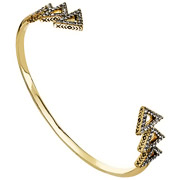 Bijoux House of Harlow 1960 - Bracelet manchette Tessellation, dorure or 14 carats, brillants, Ø55mm
