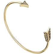 Bijoux House of Harlow 1960 - Bracelet manchette Arrow Affair, dorure or 14 carats, brillants, Ø55mm