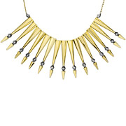 Bijoux House of Harlow 1960 - Collier plastron Nomadic Warrior doré à l'or fin