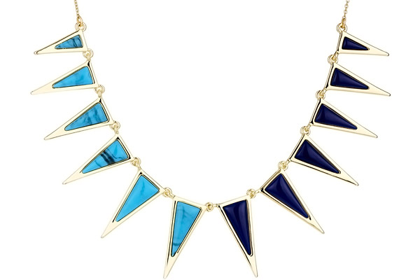 Collier plastron Delta, dorure or 14 carats House of Harlow 1960