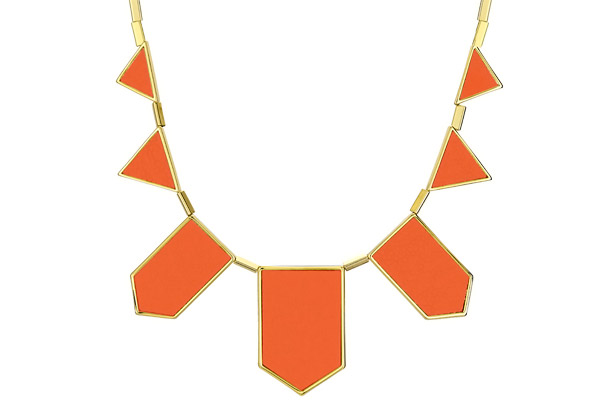 Collier plastron five station cuir corail, dorure or 14 carats House of Harlow 1960