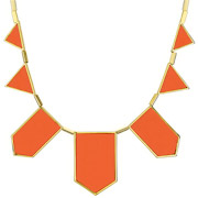 Bijoux House of Harlow 1960 - Collier plastron five station cuir corail, dorure or 14 carats