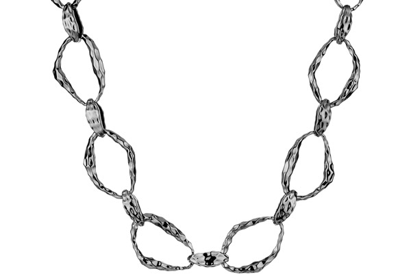 Collier ras de cou Textured Link rhodié noir House of Harlow 1960