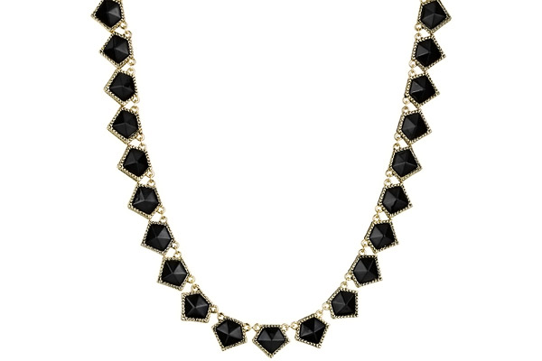 Collier Jewels of Java, dorure or 14 carats, résine noire House of Harlow 1960