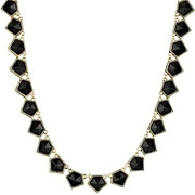 Bijoux House of Harlow 1960 - Collier Jewels of Java, dorure or 14 carats, résine noire