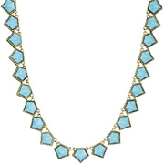 Bijoux House of Harlow 1960 - Collier Jewels of Java, dorure or 14 carats, résine bleue
