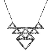 Bijoux House of Harlow 1960 - Collier Tessellation, métallisation en argent, brillants