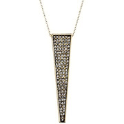 Bijoux House of Harlow 1960 - Pendentif + chaîne Kinetic, dorure or 14 carats, brillants