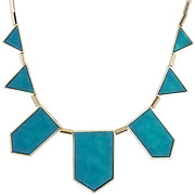 Bijoux House of Harlow 1960 - Collier plastron five station cuir turquoise Classic, dorure or 14 carats