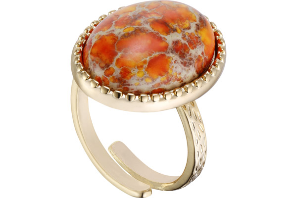 Bague cabochon, orange, réglable Hypnochic