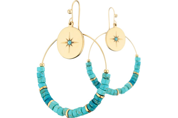 Boucles d'oreilles dormeuses, Turquoise, Strass, Ø40mm Ikita