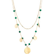 Bijoux Ikita - Collier ras de cou 2 rangs Perles, métallisation Or, Malachite