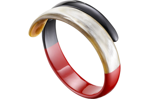Bracelet manchette serpent corne blonde et laque rouge, Ø65mm L'Indochineur