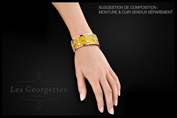 Cuir bicolore reversible, pour bracelet manchette 25mm, orange-brun rosé Les Georgettes, plan large