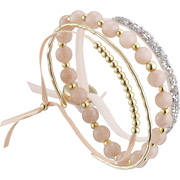 Bijoux Les Interchangeables - Set de bracelets, 4 pcs. Strass Box, dorure or 14K, cristal Swarovski, rose