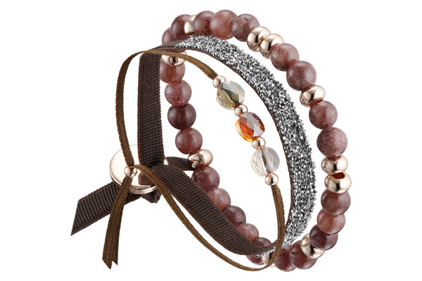 Set de bracelets, 3 pcs. Strass Box, dorure or rose, cristal Swarovski, marron Les Interchangeables