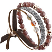 Bijoux Les Interchangeables - Set de bracelets, 3 pcs. Strass Box, dorure or rose, cristal Swarovski, marron