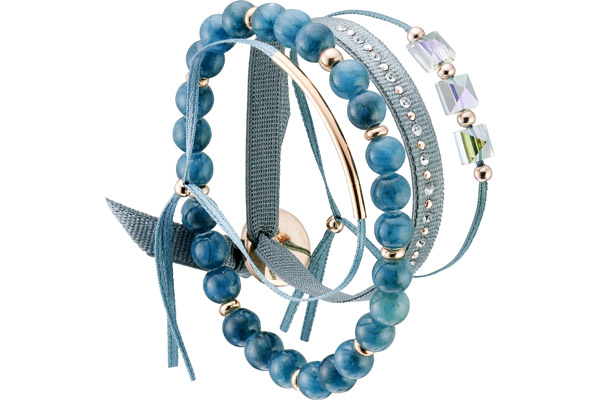 Set de bracelets, 4 pcs. Strass Box, dor. or rose, cristal Swarovski, Bleu Gris Les Interchangeables
