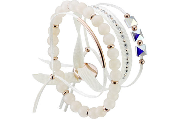 Set de bracelets, 4 pcs. Strass Box, dor. or rose, cristal Swarovski, Creme Les Interchangeables
