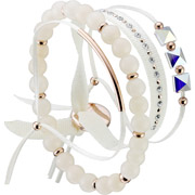 Bijoux Les Interchangeables - Set de bracelets, 4 pcs. Strass Box, dor. or rose, cristal Swarovski, Creme