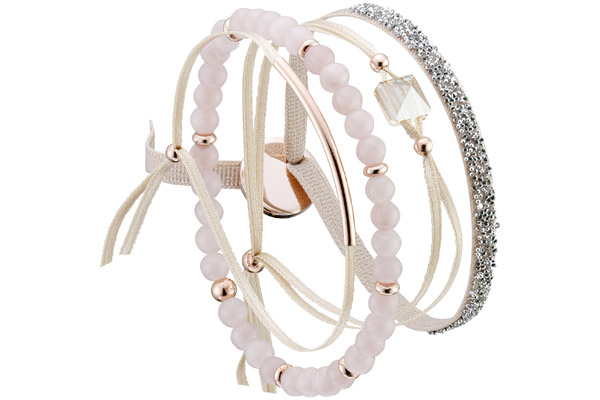 Set de bracelets, 4 pcs. Strass Box, dor. or rose, cristal Swarovski, Beige Les Interchangeables
