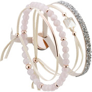 Bijoux Les Interchangeables - Set de bracelets, 4 pcs. Strass Box, dor. or rose, cristal Swarovski, Beige