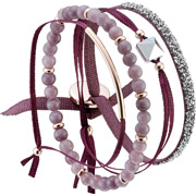 Bijoux Les Interchangeables - Set de bracelets, 4 pcs. Strass Box, dor. or rose, cristal Swarovski, Bordeaux
