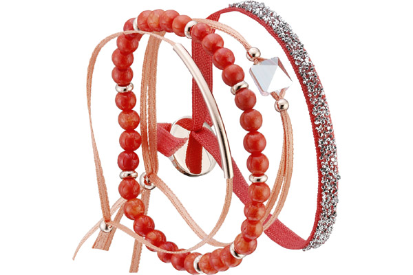 Set de bracelets, 4 pcs. Strass Box, dor. or rose, cristal Swarovski, Corail Les Interchangeables