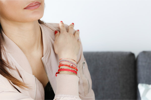 Set de bracelets, 4 pcs. Strass Box, dor. or rose, cristal Swarovski, Corail Les Interchangeables, gros plan