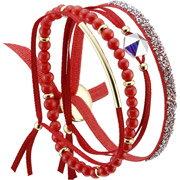 Bijoux Les Interchangeables - Set de bracelets, 4 pcs. Strass Box, dor. or, cristal Swarovski, Rouge