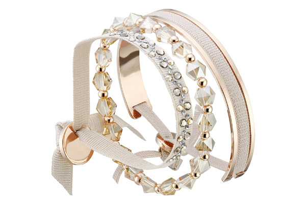 Set de bracelets, 3 pcs. J Box, dor. or rose, cristal Swarovski, crème Les Interchangeables