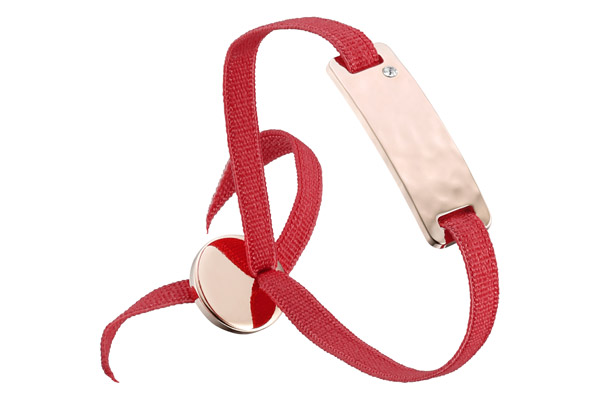 Bracelet ruban, dor. or rose, Rouge Les Interchangeables