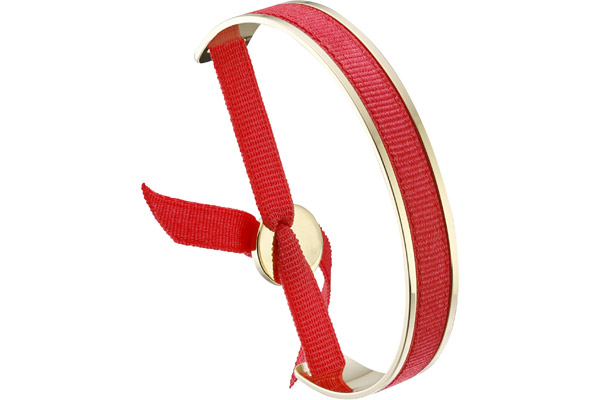 Bracelet jonc ruban, dor. or, Rouge Les Interchangeables