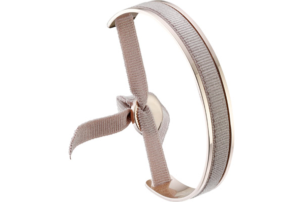 Bracelet jonc ruban, dor. or, Beige Rose Les Interchangeables