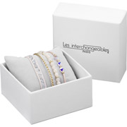 Bijoux Les Interchangeables - Set de bracelets, 4 pcs, Strass box, dor. or, cristal Swarovski, Rose 08