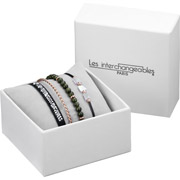 Bijoux Les Interchangeables - Set de bracelets, 4 pcs, Strass box, dor. or rose, cristal Swarovski, Kaki